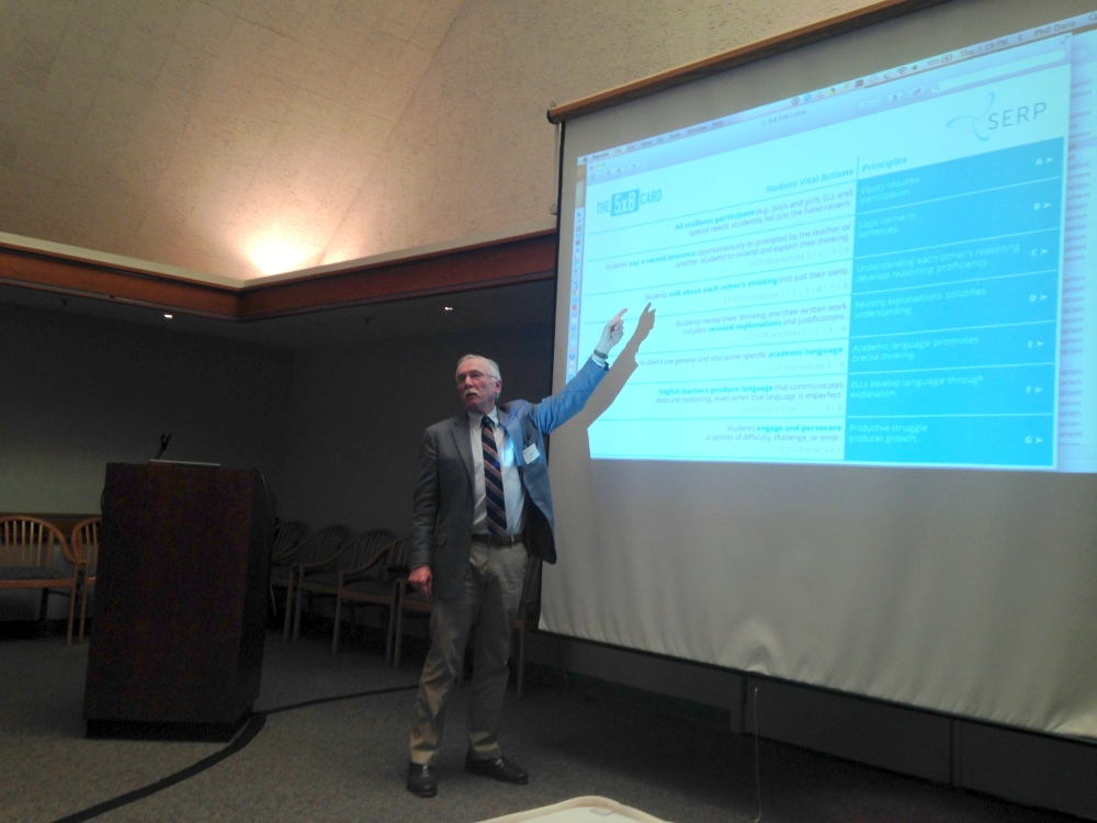 At the Faculty Club, Daro explains the 5x8 Card, a tool developed by the SERP Institute and math leaders in the Bay Area. The card helps teachers and administrators identify vital student action and communication evident in a CCSS-M classroom.