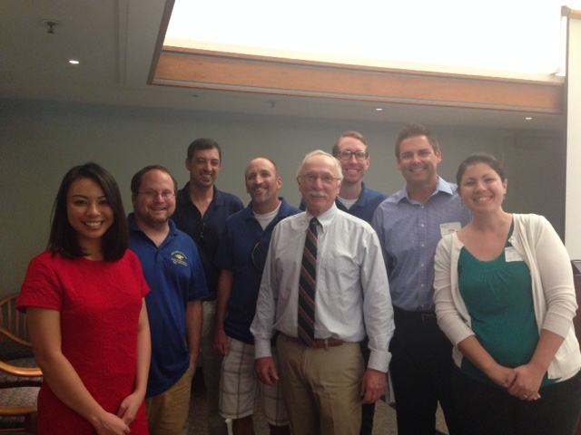 Daro poses with EDS Associate Teaching Professor Chris Halter (third from left) and UC San Diego EDS Noyce Master Teaching Fellows at the Faculty Club lunch.