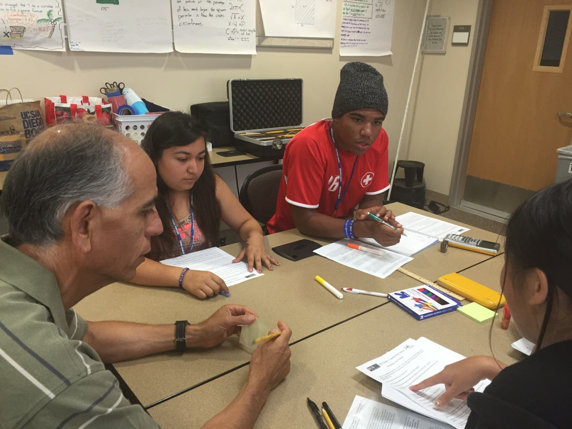 Developing students' understanding of the eight mathematical practices expected in the Common Core State Standards was key, said Gregory Guayante, MfA SD Master Teaching Fellow and Math + Leadership Camp instructor.