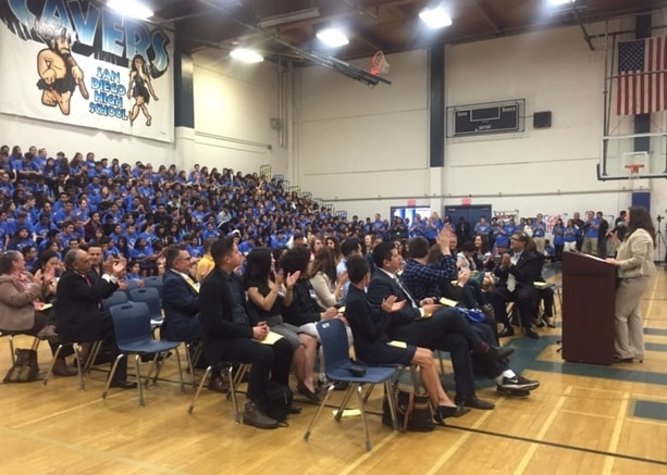 San Diego High School Principal Carmen Garcia welcomes students and guests to Achieve UC on Feb.10.