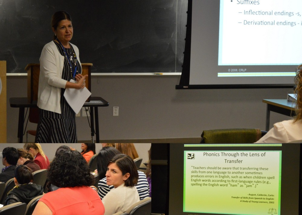 Deborah Costa-Hernandez, executive director of the California Reading and Literature Project, Statewide Office (above), addresses ELA reading and biliteracy instruction for K-5 teachers.