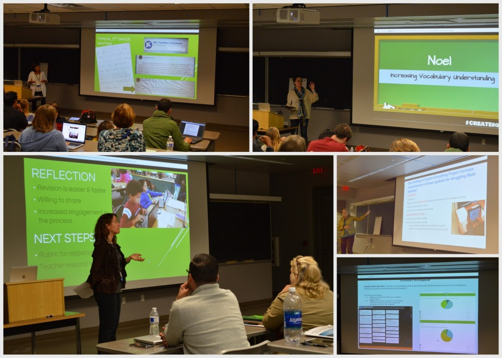 Professor Mica Pollock, UC San Diego Department of Education Studies and director of CREATE, and co-leader of the Smart Tech Use for Equity initiative (lower left), co-facilitated a session featuring teachers' work to test technology's pros and cons in learning environments.