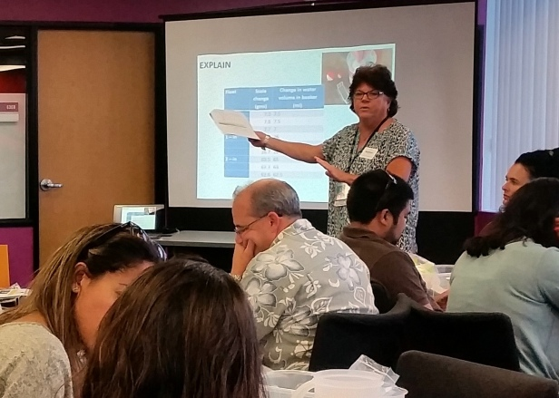Kathryn Schulz, director of the San Diego Science Project, with teachers at the ONR Lesson Study Workshop Sept. 14 and 15 at Qualcomm's Thinkabit lab.