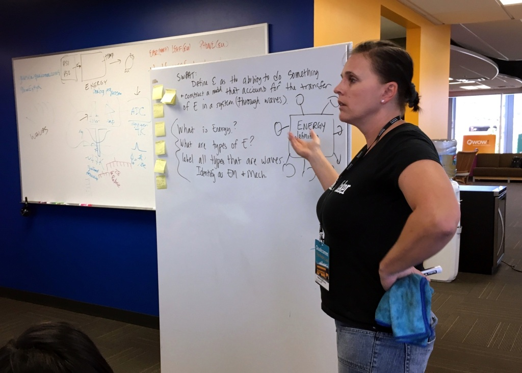 "Rebecca McKinney, physics teacher at San Pasqual High School, works with her North County team to develop questions for their science lesson on energy transformation. McKinney writes about her ONR lesson study experience on her education blog, ""NGSS Made Me Do It."""